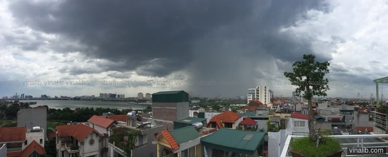 Localized thunderstorm (panorama) - Vinalib Stock Pictures
